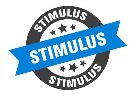 stimulus sign. round isolated sticker. ribbon tag