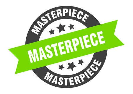 masterpiece sign. round isolated sticker. ribbon tag