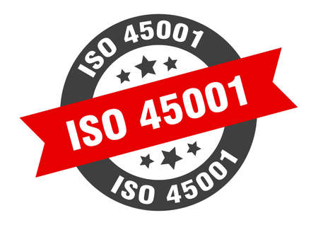 iso 45001 sign. round isolated sticker. ribbon tag
