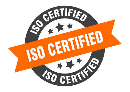 iso certified sign. round isolated sticker. ribbon tag