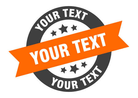 your text sign. round isolated sticker. ribbon tag