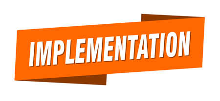 implementation banner template. ribbon label sticker. sign