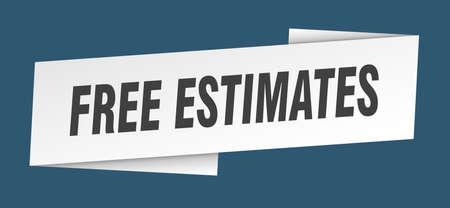 free estimates banner template. ribbon label sticker. sign