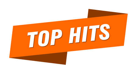 top hits banner template. ribbon label sticker. sign Vectores