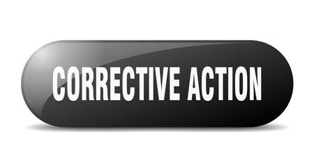 corrective action button. rounded glass sign. sticker. banner Vector Illustration