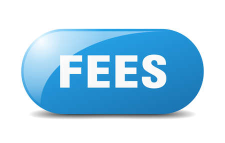 fees button. rounded glass sign. sticker. banner Stock Illustratie