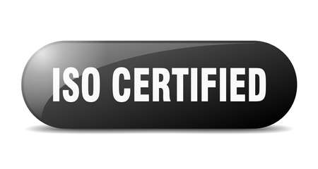 iso certified button. rounded glass sign. sticker. banner Illustration