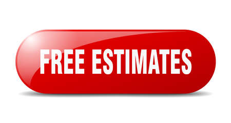 free estimates button. rounded glass sign. sticker. banner