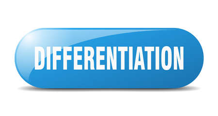 differentiation button. rounded glass sign. sticker. banner