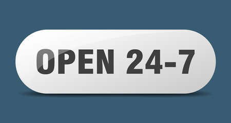 open 24 7 button. rounded glass sign. sticker. banner