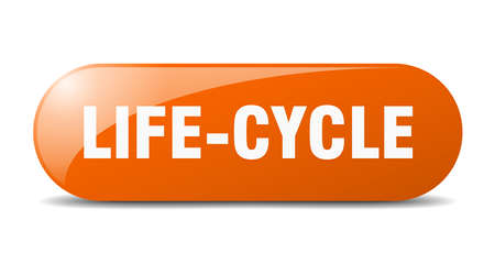 life-cycle button. rounded glass sign. sticker. banner