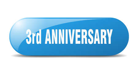 3rd anniversary button. rounded glass sign. sticker. banner