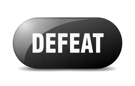 defeat button. rounded glass sign. sticker. banner