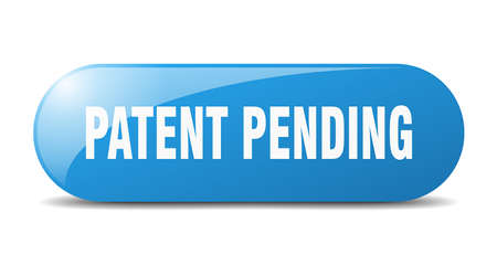 patent pending button. rounded glass sign. sticker. banner
