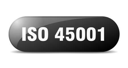 iso 45001 button. rounded glass sign. sticker. banner Illustration