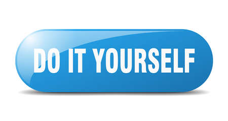 do it yourself button. rounded glass sign. sticker. banner Stock Illustratie