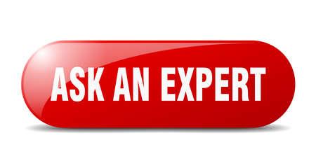 ask an expert button. rounded glass sign. sticker. banner Stock fotó - 155004960