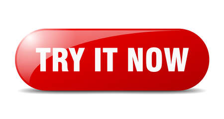 try it now button. rounded glass sign. sticker. banner
