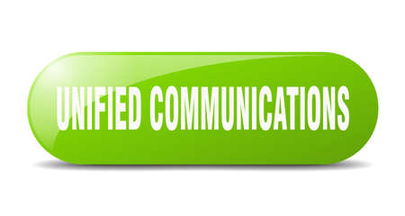 unified communications button. rounded glass sign. sticker. banner