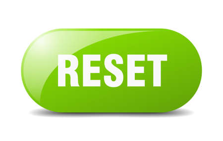 reset button. rounded glass sign. sticker. banner