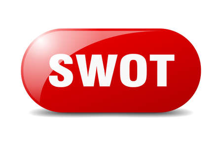 swot button. rounded glass sign. sticker. banner