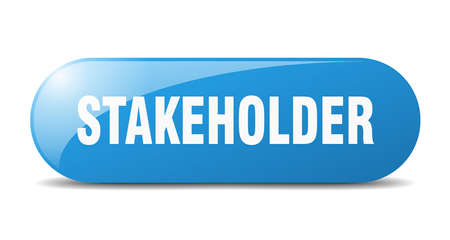 stakeholder button. rounded glass sign. sticker. banner