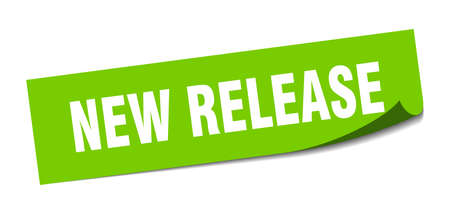 new release sticker. square isolated peeler sign. label