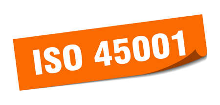 iso 45001 sticker. square isolated peeler sign. label