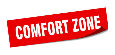 comfort zone sticker. square isolated peeler sign. label