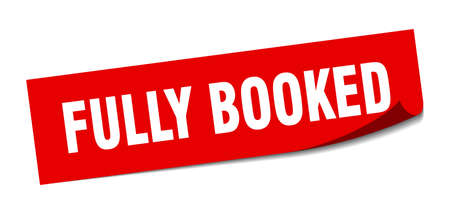 fully booked sticker. square isolated peeler sign. label