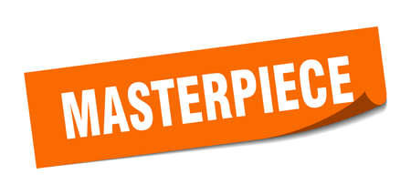 masterpiece sticker. square isolated peeler sign. label