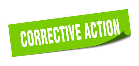 corrective action sticker. square isolated peeler sign. label