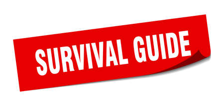 survival guide sticker. square isolated peeler sign. label