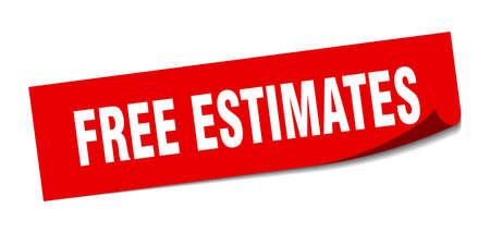 free estimates sticker. square isolated peeler sign. label