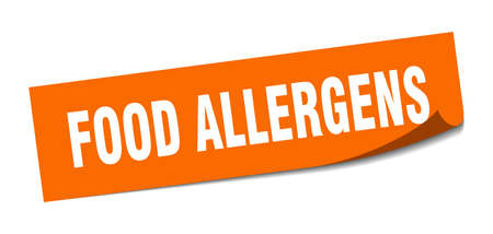 food allergens sticker. square isolated peeler sign. label