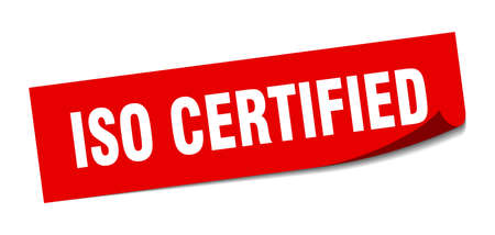iso certified sticker. square isolated peeler sign. label