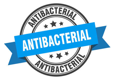 antibacterial label sign. round stamp. ribbon. band
