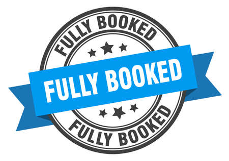 fully booked label sign. round stamp. ribbon. band Vector Illustration