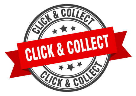 click & collect label sign. round stamp. ribbon. band