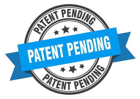 patent pending label sign. round stamp. ribbon. band
