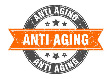 anti aging round stamp with ribbon. sign. label