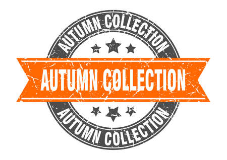 autumn collection round stamp with ribbon. sign. label Иллюстрация