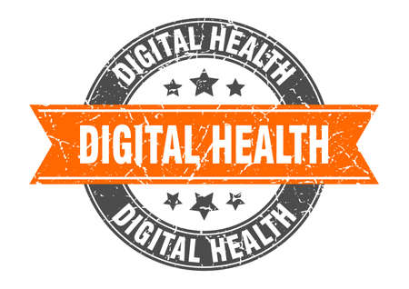 digital health round stamp with ribbon. sign. label