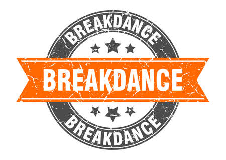 breakdance round stamp with ribbon. sign. label