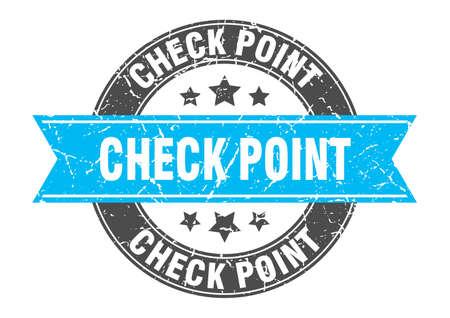 check point round stamp with ribbon. sign. label Illusztráció