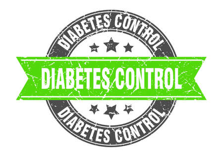 diabetes control round stamp with ribbon. sign. label