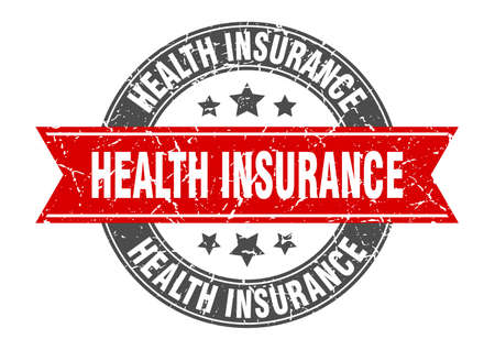 health insurance round stamp with ribbon. sign. label