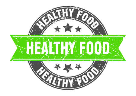 healthy food round stamp with ribbon. sign. label