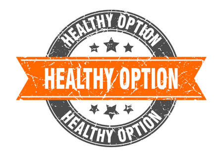 healthy option round stamp with ribbon. sign. label Vettoriali