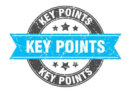 key points round stamp with ribbon. sign. label Illusztráció